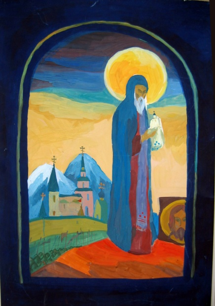 «Триптих «Святой Сергий Радонежский» Тамбовцева Олеся, Миткеева Аня, 17 лет